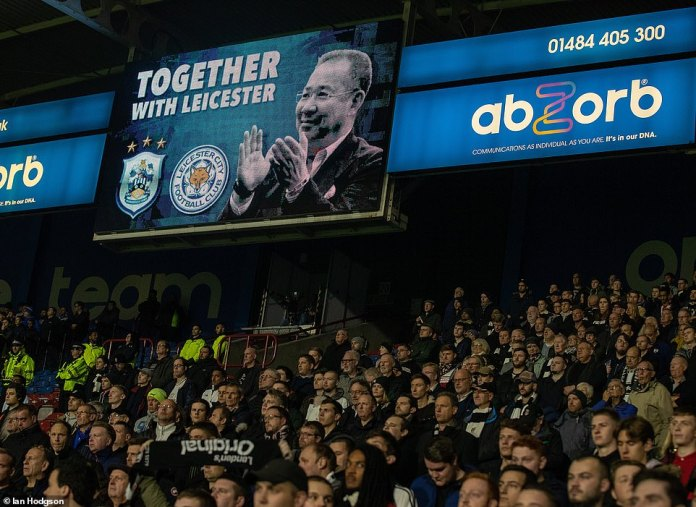 "An image of Vichai along with the words ""Together with Leicester"" is displayed on the large screens before starting"