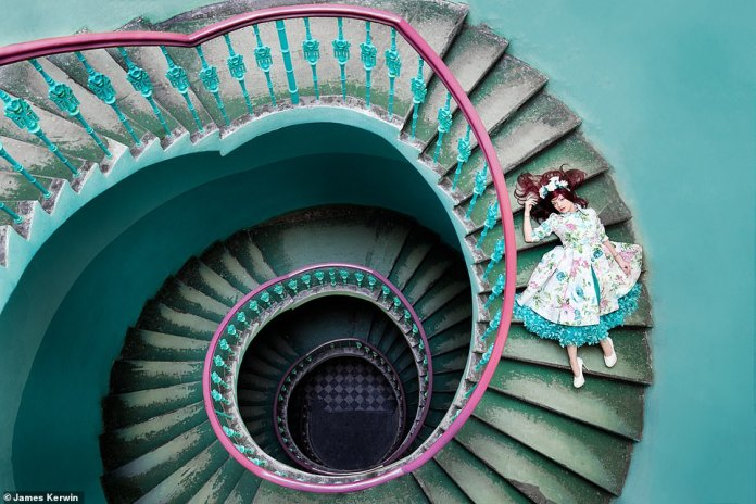 The couple traveled to Poland and found these colorful stairs in an abandoned house and did a spontaneous shoot