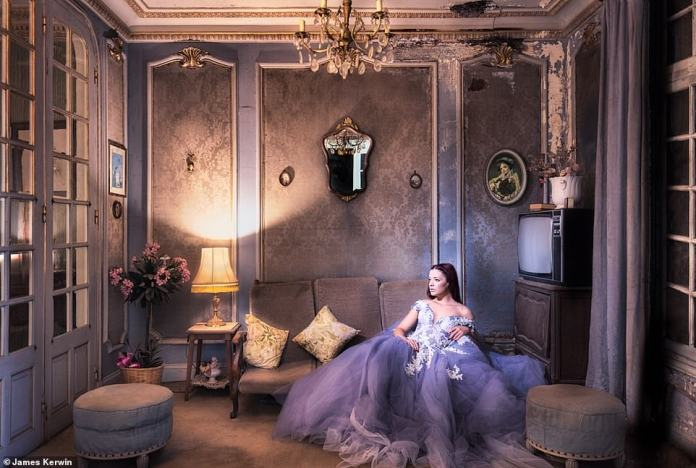 The rooms in this run-down French castle were still full of furniture. Jade had just packed this purple dress, which almost fits into the environment