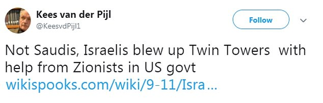 Professor Kees van der Pijl, the former head of its international relations department, used his source an article entitled '9-11/Israel did it' by conspiracy theory site Wiki Spooks