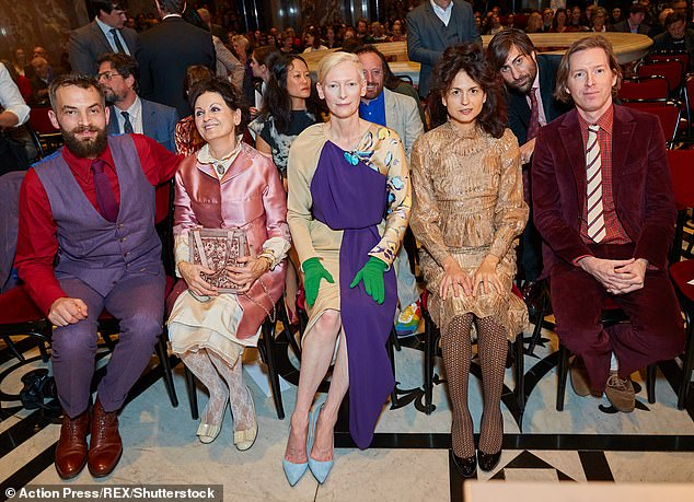 In good company: The pair were joined by Juman Malouf (second from right) and Wes Anderson (far right)