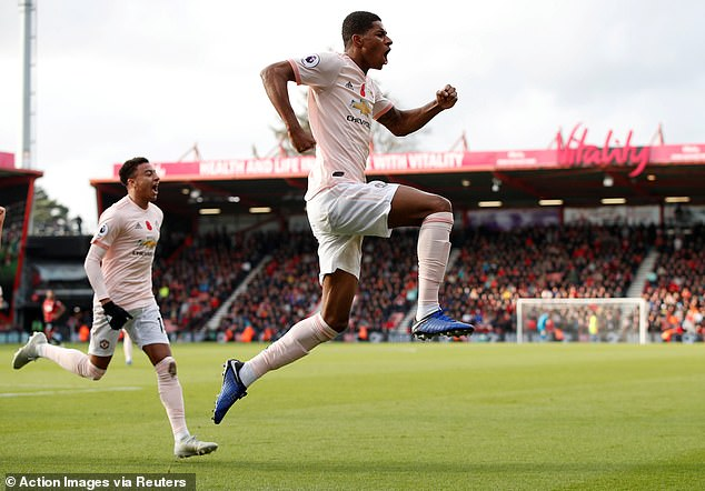 Rashford scored the winning goal for Manchester United against Bournemouth on Saturday