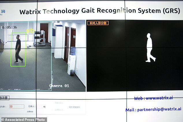 Watrix's software extracts the silhouette of a person from a video and analyzes the movement of the silhouette to create a model for the person's walking. Pictured is a demonstration