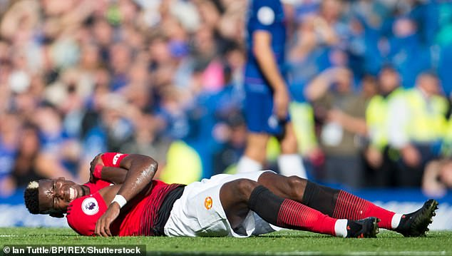 Players in the UK suffer an average of 1.9 injuries per player per season, as research shows, a rise of 1.3 per player in 2001 (Photo: Paul Pogba of Manchester United, who joined in a game against Chelsea last month) the shoulder held).
