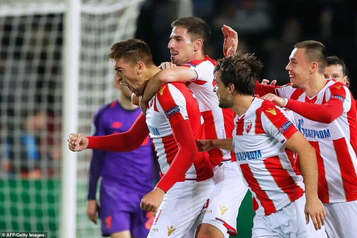 Red Star Belgrade took the lead and looked up after being paralyzed by Milan Pavkov (left)