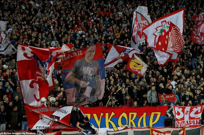 The home crowd made a lot of noise throughout the game, even though the red star was behind the foot after the break