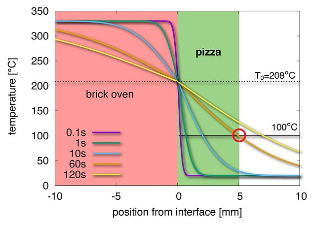 The temperature profile of pizza in a stone oven with pizza at different times. In the 60s, the surface of the pizza reaches 100 ° C (red circle).