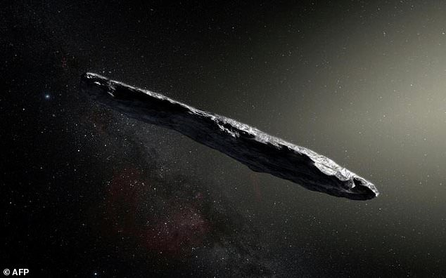 This photo released by the European Southern Observatory on November 20, 2017 shows an artist's impression of the first interstellar object known to enter our solar system: Oumuamua