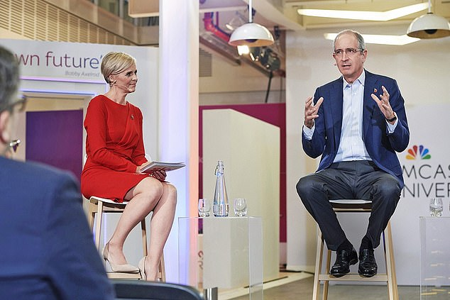 Flight Visit: Comcast boss Brian Roberts turns yesterday to staff at Sky's London headquarters
