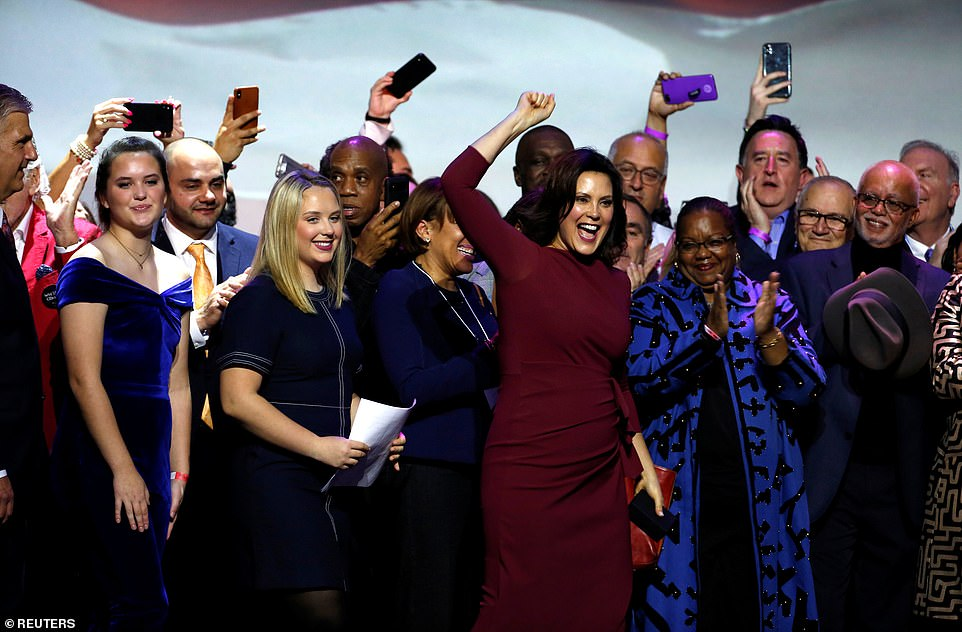 Gretchen Whitmer, a Democrat, cheers as she declares victory in the governor's race in Detroit, Michigan, one of the areas which was key to Trump's victory in 2016
