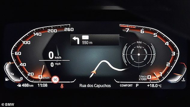 The M40i can accelerate from rest to 62 mph in 4.6 seconds. Top speed is electronically limited to 155 mph, with speed displayed on this futuristic digital screen