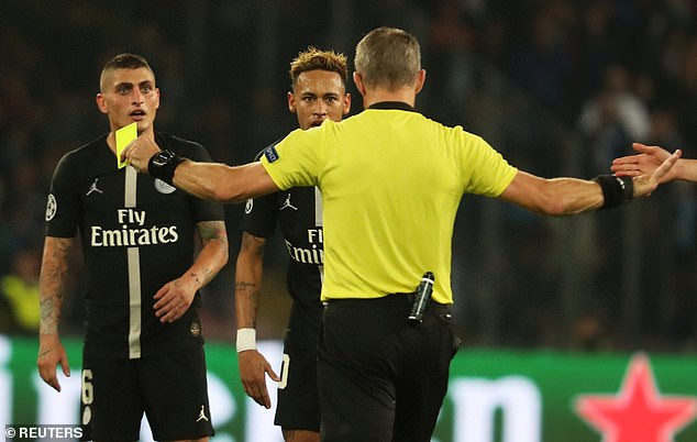 Neymar stares down the official after being booked in Tuesday's Champions League draw