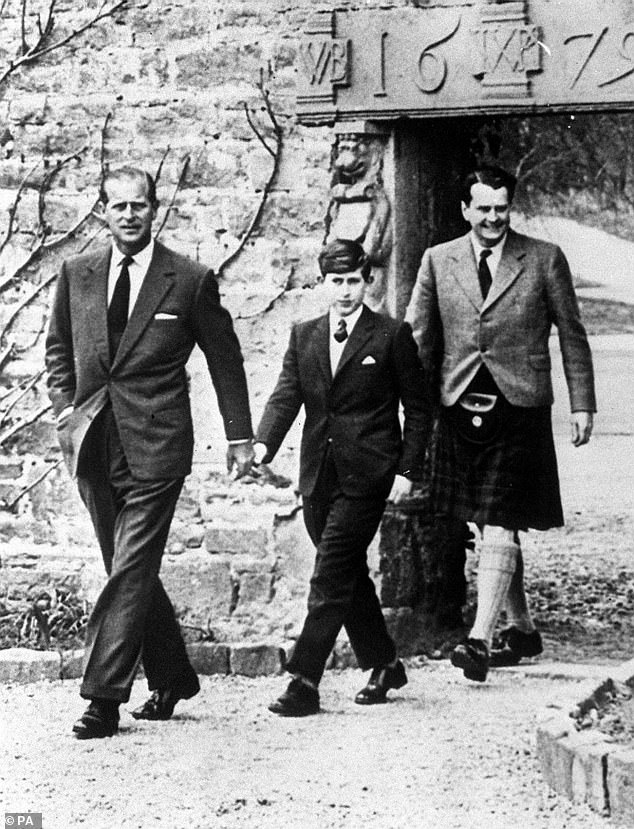 Charles, aged 13, with his father the Duke of Edinburgh (left) arriving at Gordonstoun for the Prince's first day at the public school in 1962