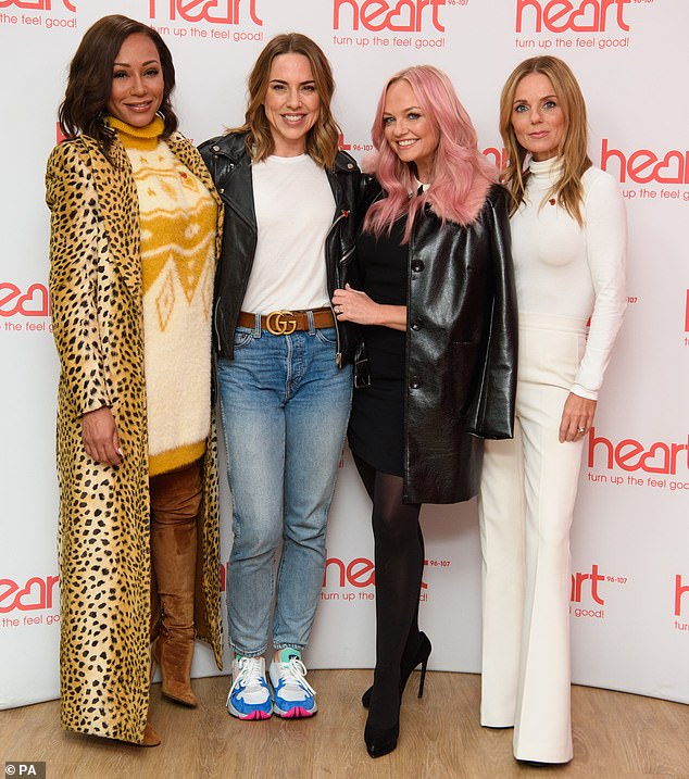 Busy girls:Mel B, Melanie Chisholm, Emma Bunton and Geri Horner made a live appearance on the Heart Breakfast show with host Jamie Theakston at Global Radio in London on Wednesday morning