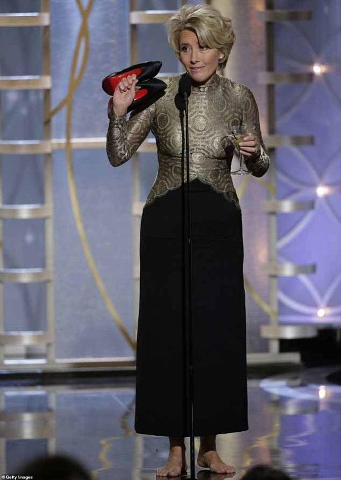 Down to earth: Emma was loved for her charm from the cuff and earned even more fans when she went on stage with her skyscrapers Christian Louboutin and a martini on the stage of the Golden Globes