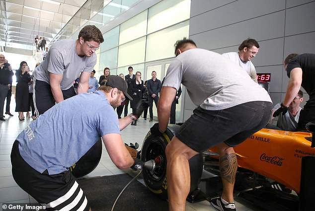 Joe Moody, Scott Barrett and Angus Ta # avao have tried everything to mount a McLaren F1 car