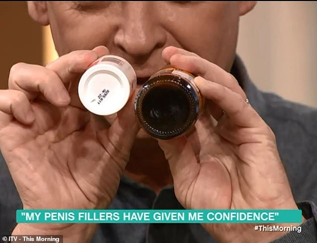 Phillip Schofield showed how Mr Price's penis size changed: the pepper on the left was the thickness before the procedure and the bottle of Lea & Perrins sauce on the right is the after