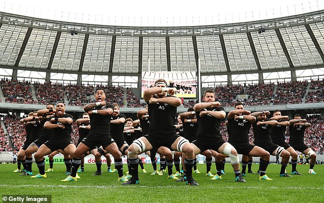 The All Blacks perform haka in view of the victory over Japan in Tokyo last weekend