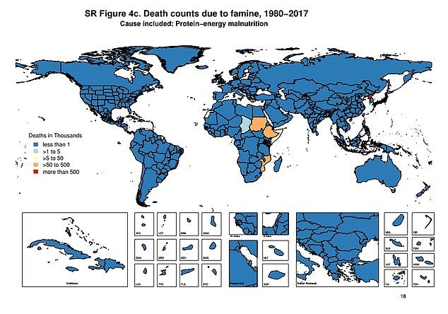 Death counts in thousands because of the famine between 1980-2017. Dark blue is less than 1,000, light blue is less than 5,000, yellow is less than 50,000, orange is less than 500,000 and red at over 500,000