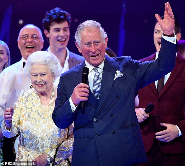The Queen and Prince Charles surrounded by guests on stage at the Royal Albert Hall in London during a star-studded concert to celebrate the Queen's 92nd birthday. Camilla says:'I think his destiny will come, he's always known it's going to come and I don't think it does weigh on his shoulders at all'