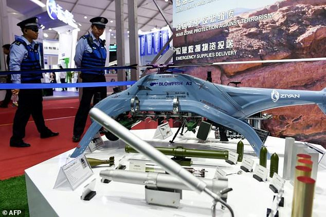 Saudi Arabia and Pakistan are in the process of acquiring the Chinese-made Blowfish A2 (pictured). A director from Ziyan, the manufacturer of the helicopter drone, said they could add 'whatever' weapons required by clients to the unmanned aircraft