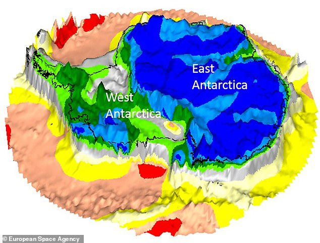 The study revealed that West Antarctica (green) has a thinner crust than East Antarctica (blue), which has a 'family likeness to Australia and India'