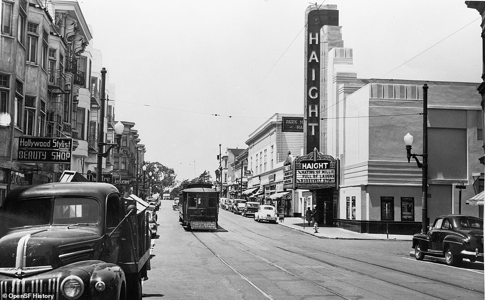 The Haight Theater, depicted in 1948, is located in the middle of Haight Street in the city. The theater had a large tent that advertised its latest shows