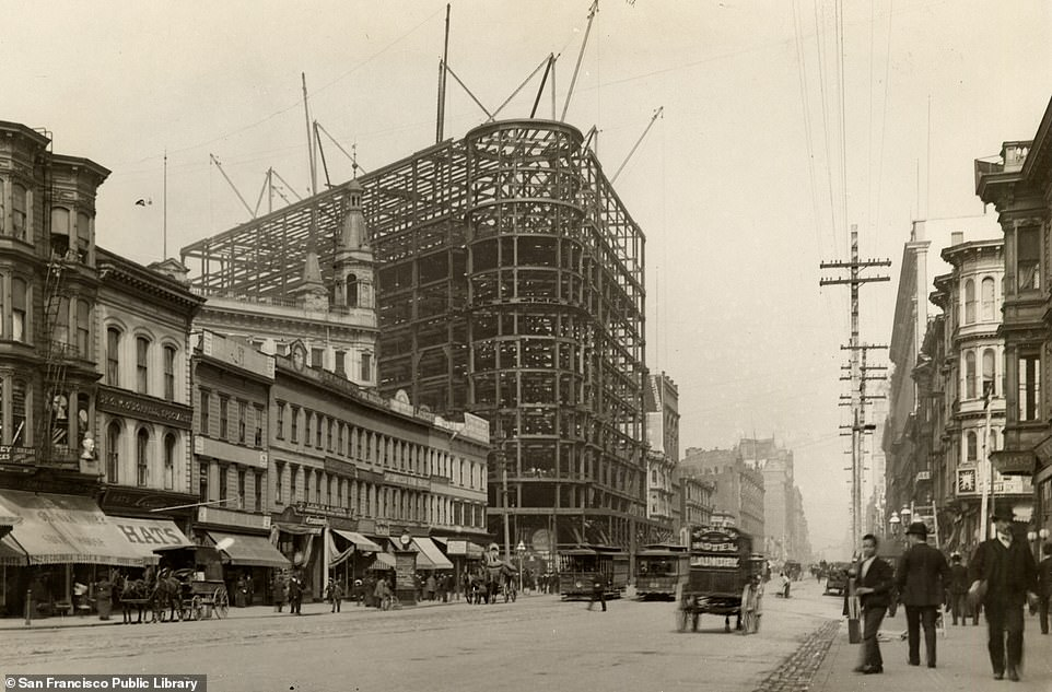 The Flood Building on Market Street pictured during its construction in 1904. When it was opened later in the year, it was the tallest building in San Francisco