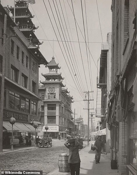 China Town in San Francisco, in the 1910 photograph, is one of the oldest and most established in the United States