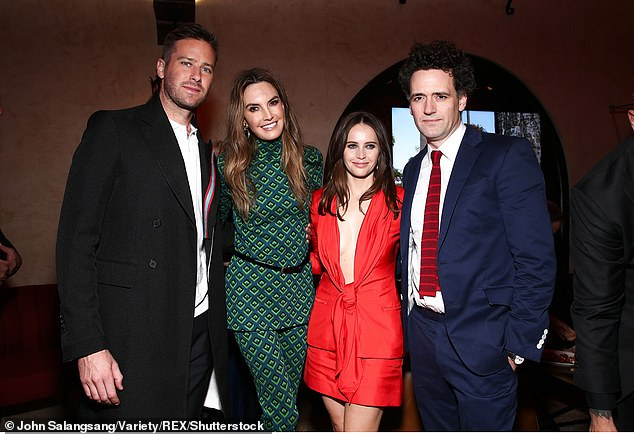 Double date: Armie Hammer and his wife Elizabeth Chambers pose with Armie's co-star Felicity Jones and her husband Charles Guard at the On the Basis of Sex premiere