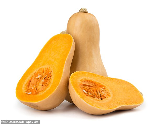 The orange color of the butternut squash signals its carotene content. Higher antioxidants have also been associated with lower rates of depression
