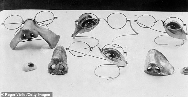 A selection of newly formed noses, eyes and eyelids in France in 1918 for wounded soldiers