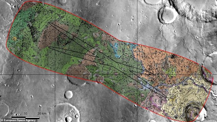 According to ESA, Oxia Planum sits on the boundary of an ancient body of water. As a result, it is home to layers of clay-rich minerals. A texture map of Oxia planum is shown above