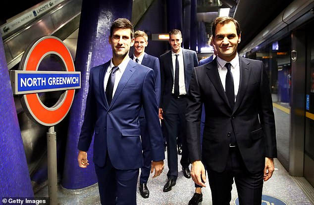 The tennis stars left North Greenwich serving the O2 Arena in East London