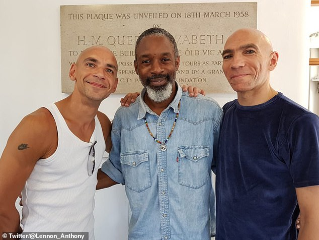 Fraser Ayres (left) and Wil Johnson (centre) stand with Lennon (right) after a performance at the Bush Theatre.Born 'with darker skin, kinkier hair, higher cheekbones', as he wrote in Photo ID, Anthony claims his appearance heaped shame on his family at a time when racism was rife