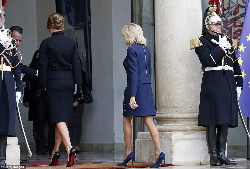 Melania and Brigitte head inside the Elysee Presidential Palaceto participate in the international ceremony of the Armistice Centenary of 1918