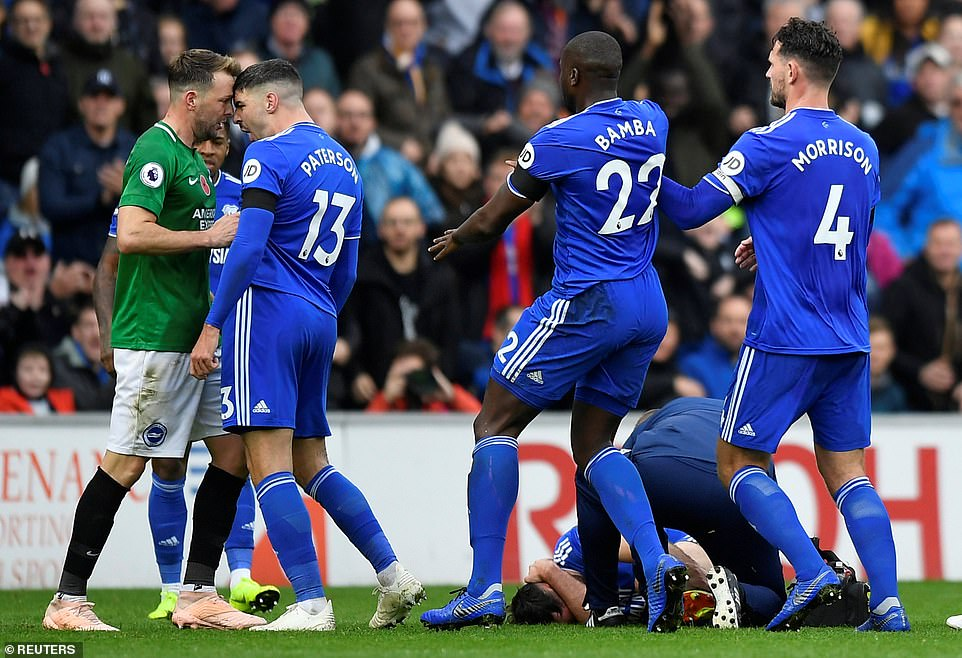 Cardiff Paterson striker reacts furiously to Stephens' challenge on Cunningham and aggressively bends over him