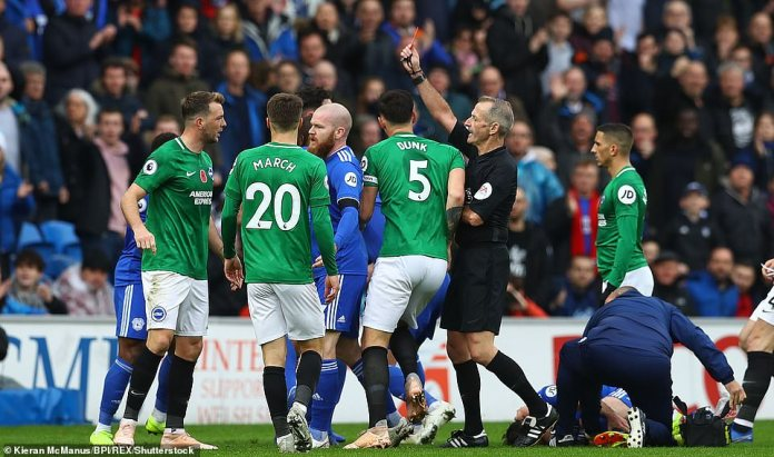 Brighton was reduced to 10 men shortly after Cardiff draw with Dale Stephens who saw the red for a long lunge