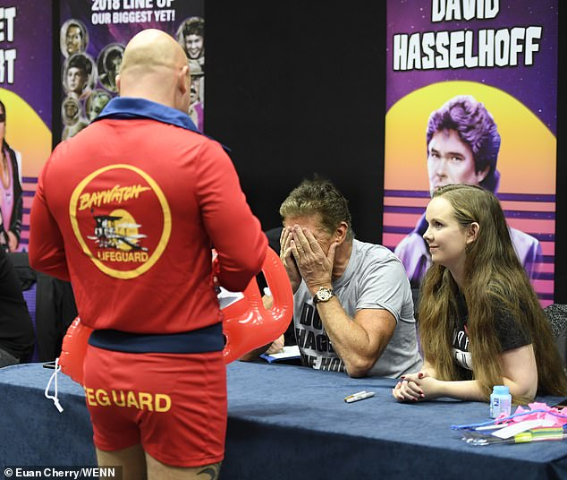 Star-studded:The Hoff was joined by other stars including the original Hulk Lou Ferrigno, Ghostbusters¿ Ernie Hudson, ET actor Henry Thomas, and the seventh Doctor Sylvester McCoy