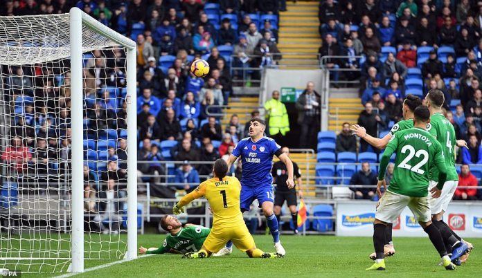 Paterson goes close to scoring from a tight corner in the area, but is penalized for a boost to Glenn Murray on the far post