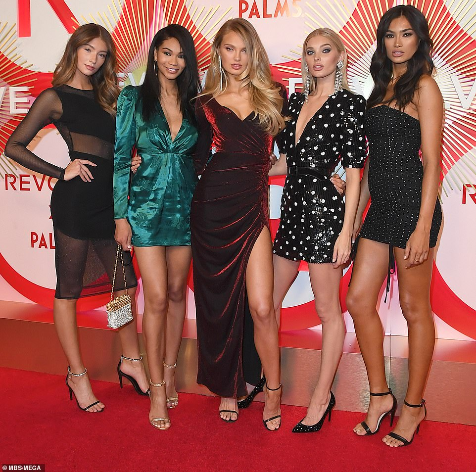 Star-studded event: Each year it draws in the best of the fashion world (pictured above L-R: Lorena Rae, Chanel Iman, Romee Strijd, Elsa Hosk and Kelly Gale)