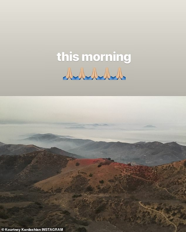 Her view top: Kourtney shared this image on Saturday morning. It is not known where she was taking the image from