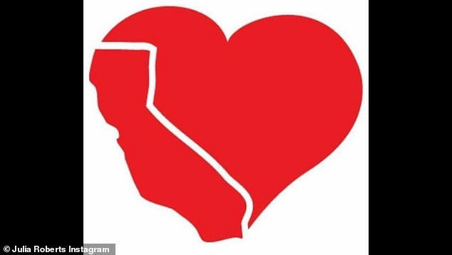 She didn't say: Julia Roberts did not make it known if her house in Malibu was OK but she did share this heart image of California