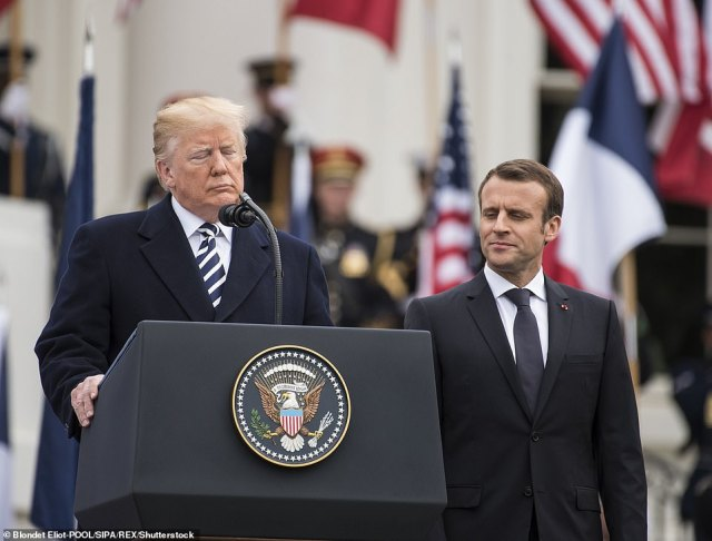 Trump and Macron participate in a grand welcome ceremony at the White House in April