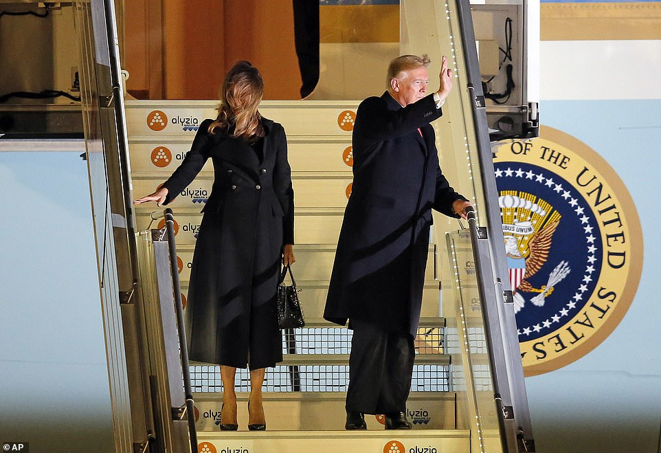 Trump touched down in France with first lady Melania Trump, staff and traveling press at 10:07 pm