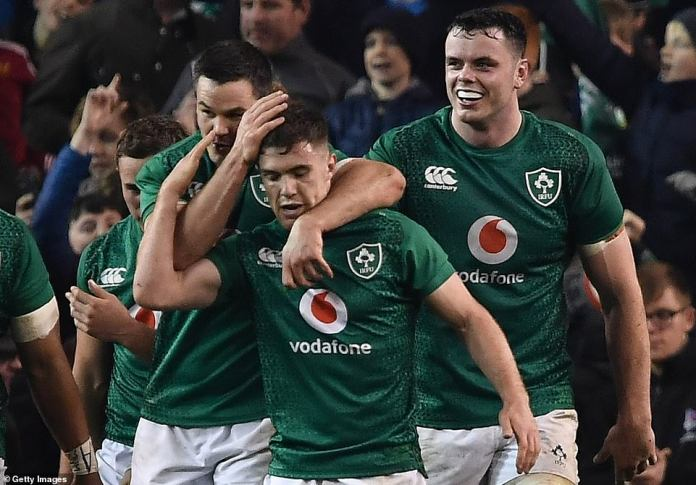 McGrath is congratulated by his Irish teammates after his attempt against Argentina