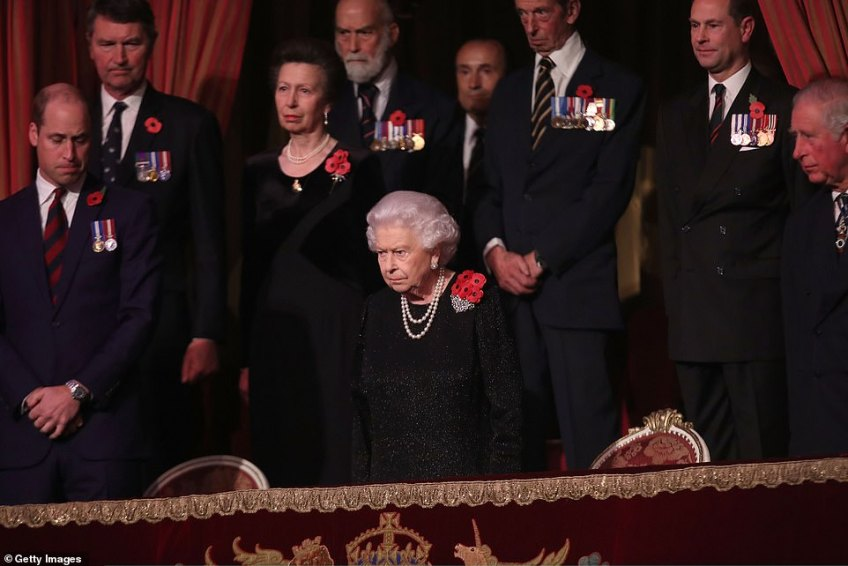 Queen Elizabeth II with Princess Anne, Princess Royal, Prince Michael of Kent, Prince Edward, Earl of Wessex and Prince Charles, Prince of Wales attend the Royal British Legion Festival of Remembrance at the Royal Albert Hall