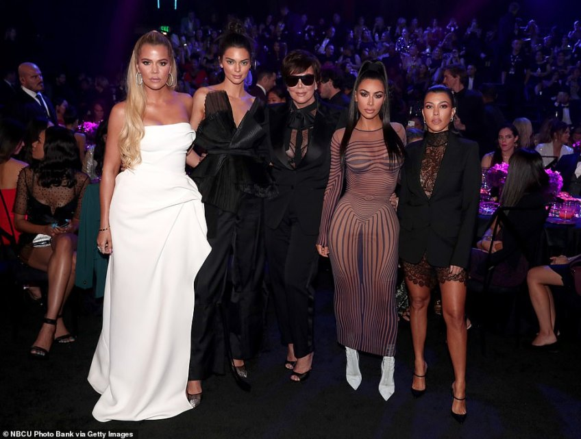 Family: The 37-year-old reality star was on hand with mom Kris Jenner and sisters Khloe Kardashian, Kendall Jenner and Kourtney Kardashian