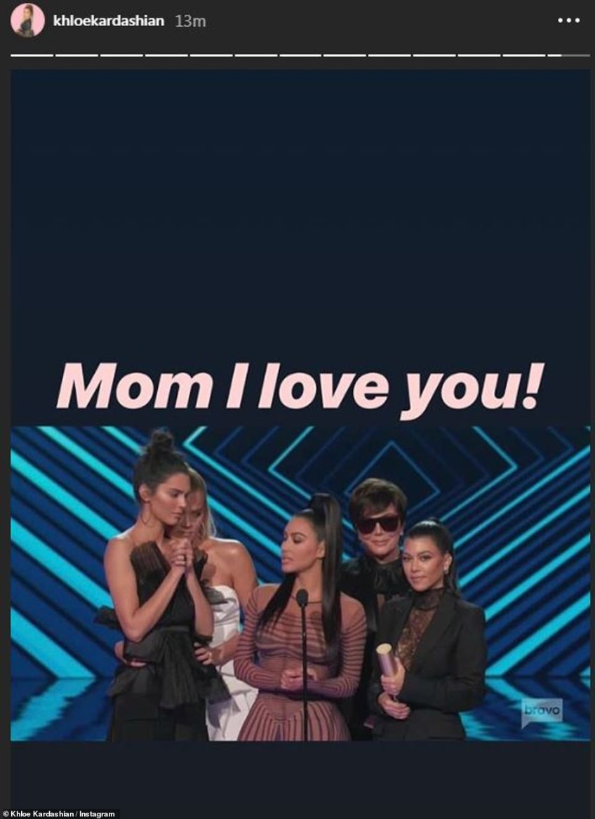 Funny:Khloe couldn't resist teasing mom Kris while at the awards show; the 63-year-old momager donned sunglasses while inside the venue - even appearing on stage to accept the award with them on