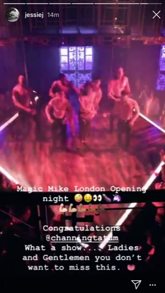 Fan girl:This comes after Jessie, 30, appeared to confirm her romance with Channing by congratulating him with a cheeky emoki to celebrate the opening of his Magic Mike Live show